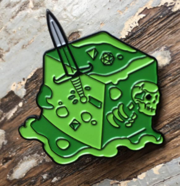 Creature Curation Enamel Pin: Gelatinous Cube (Green)