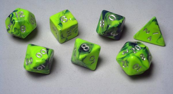 Crystal Caste: Polyhedral 7-Die Set: 16mm Toxic: Green-Blue/Silver