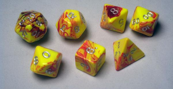 Crystal Caste: Polyhedral 7-Die Set: 16mm Toxic: Red-Yellow/Gold