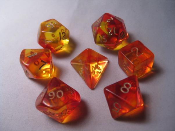 Crystal Caste: Polyhedral 7-Die Set: Firefly: Red