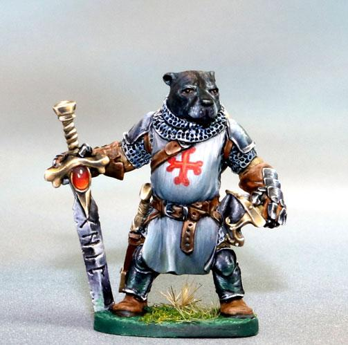Dark Sword Miniatures: Critter Kingdoms- Chip, Young Pitbull Warrior Tribute