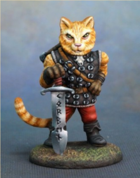 Dark Sword Miniatures: Critter Kingdoms-  Korben- Large Cat Warrior with Sword