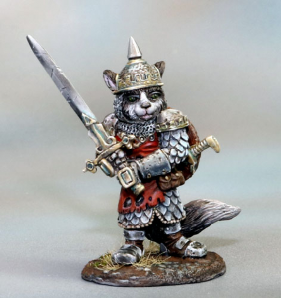 Dark Sword Miniatures: Critter Kingdoms- Ragdoll Cat Warrior with Two Handed Sword