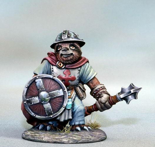 Dark Sword Miniatures: Critter Kingdoms- Sloth Cleric with Mace and Shield