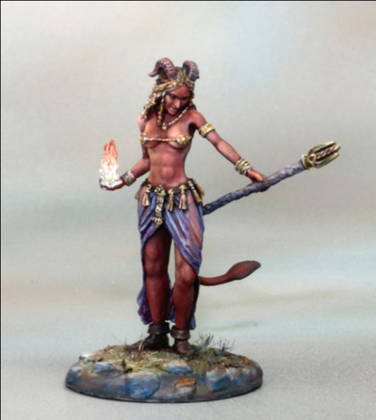 Dark Sword Miniatures: Visions in Fantasy: Female Demonkin Mage with Staff