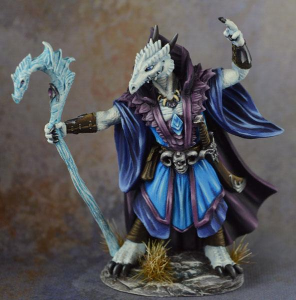 Dark Sword Miniatures: Visions in Fantasy: Male Dragonkin Mage with Staff