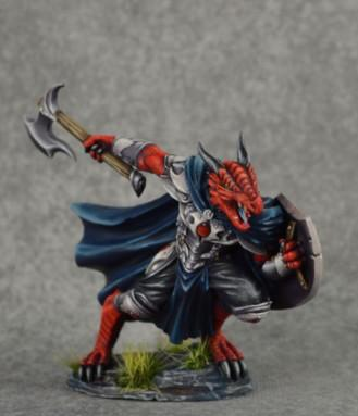 Dark Sword Miniatures: Visions in Fantasy: Male Dragonkin Paladin with Axe