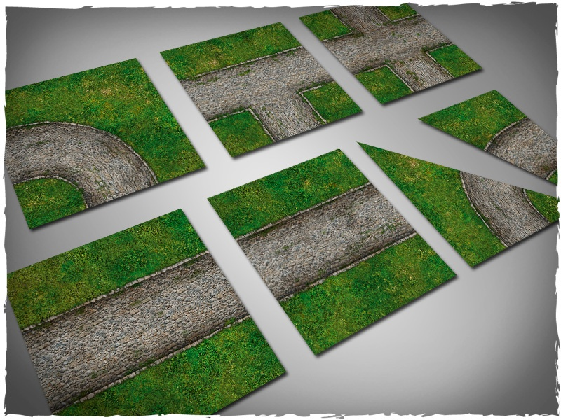 Deep Cut Studio Terrain Tile: Cobblestone Road Set