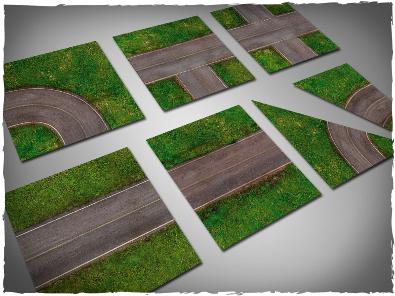 Deep Cut Studio Terrain Tile: Tarmac Highway Set