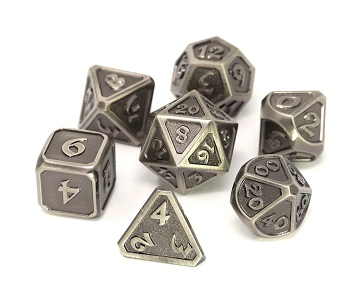 Die Hard: Metal Mythica Dice Set - Battleworn Silver