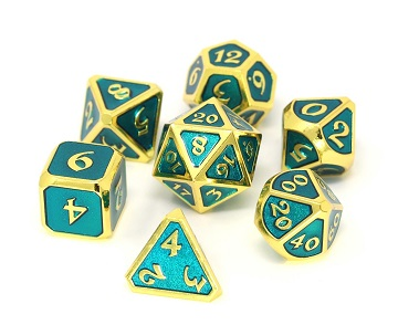 Die Hard: Metal Mythica Dice Set - Gold Aquamarine