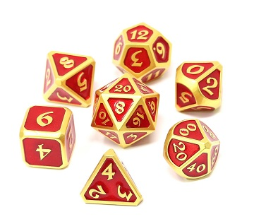 Die Hard: Metal Mythica Dice Set - Satin Gold Ruby