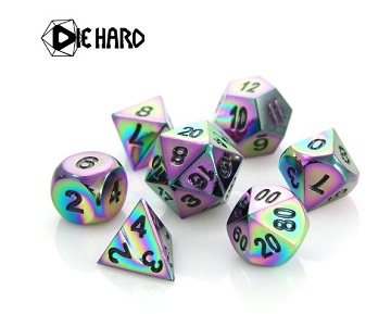 Die Hard: Metal RPG Dice Set - Scorched Rainbow with Black