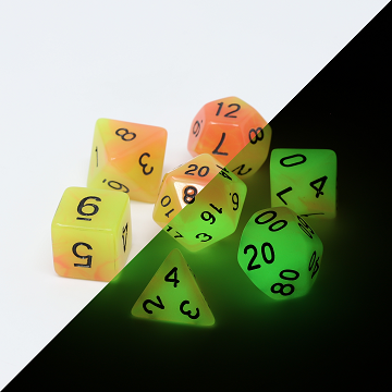 Die Hard: Poly RPG Dice Set - Glow in the Dark Alchemists Fire