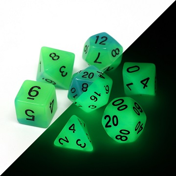Die Hard: Poly RPG Dice Set - Glow in the Dark Blue Green