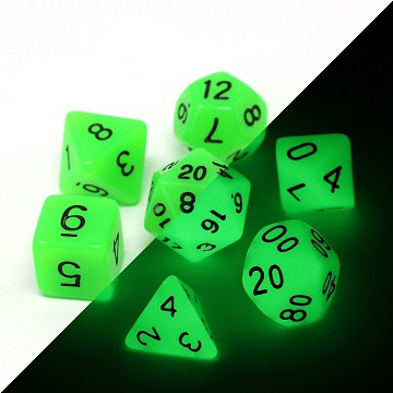 Die Hard: Poly RPG Dice Set - Glow in the Dark Green