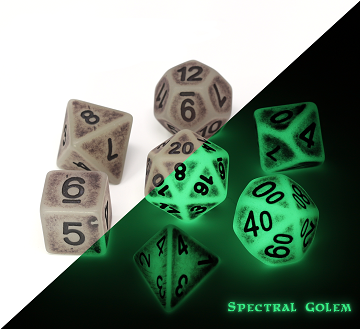 Die Hard: Poly RPG Dice Set - Glow in the Dark Spectral Golem