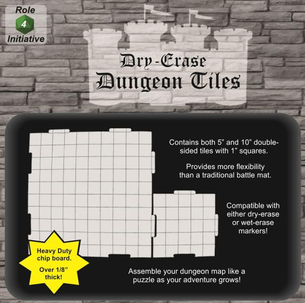 Dry Erase Dungeon Tiles: 10 (4) & 5 (16) Interlocking