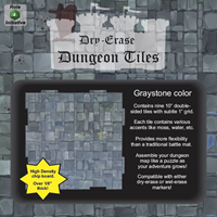 Dry Erase Dungeon Tiles: 10 Interlocking (9) (Graystone)