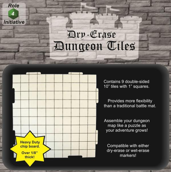 Dry Erase Dungeon Tiles: 10 Interlocking (9)
