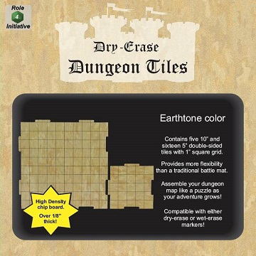 "Dry Erase Dungeon Tiles: 10(x5) Interlocking 5""(x16) Square (Earthtone)"