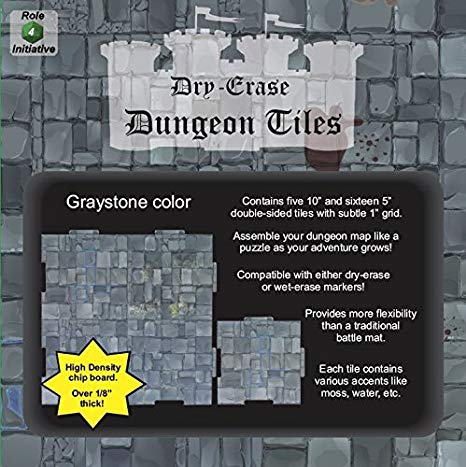 "Dry Erase Dungeon Tiles: (5) 10"" & (16) 5"" Interlocking (Graystone)"