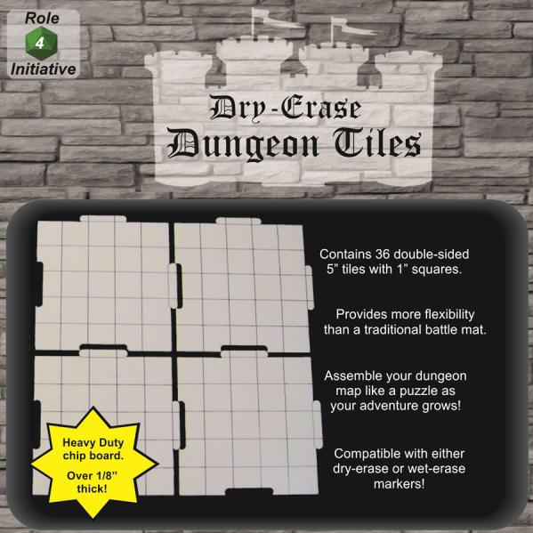 Dry Erase Dungeon Tiles: 5 Interlocking (36)