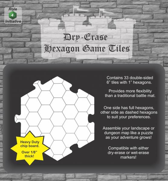 Dry Erase Dungeon Tiles: Hexagon