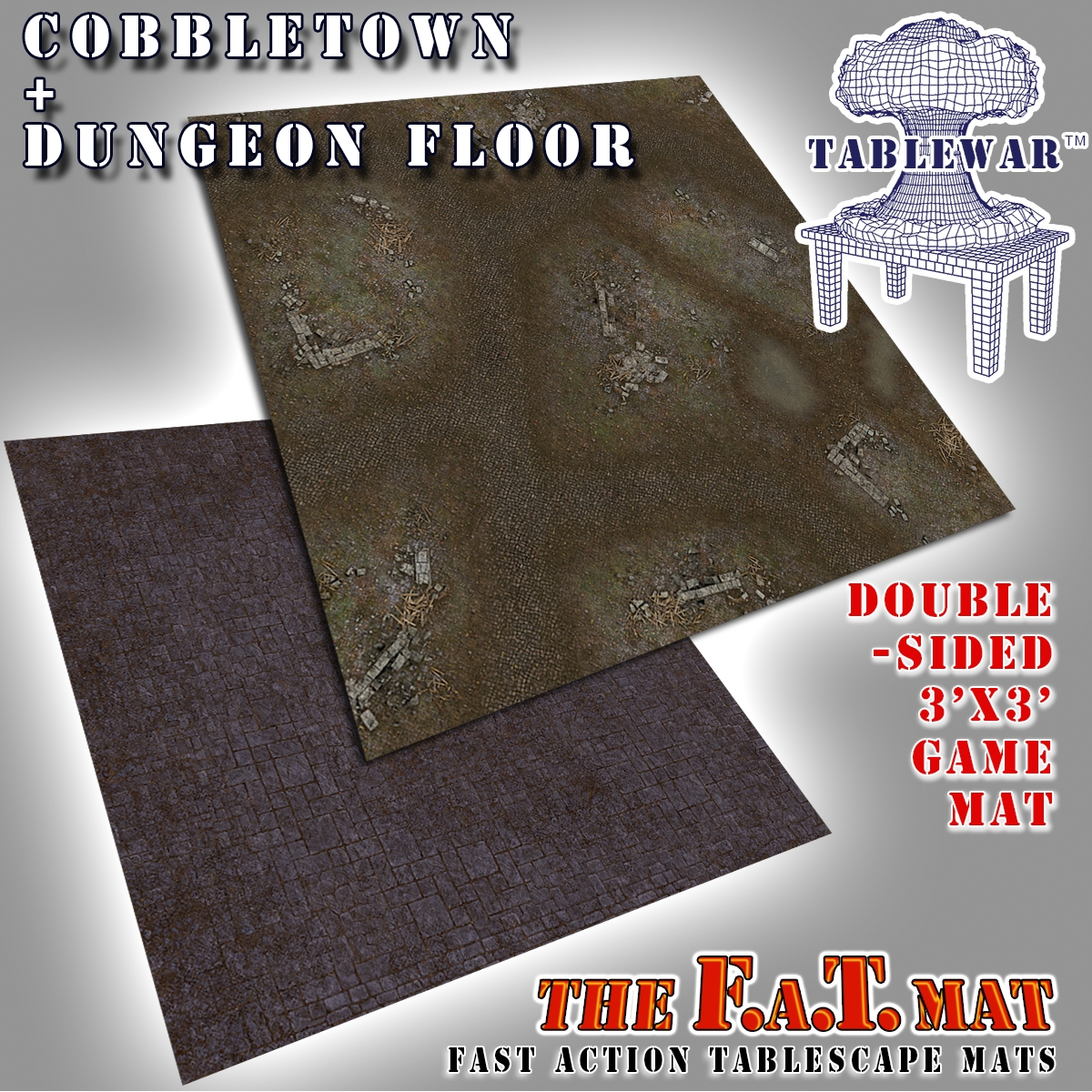 F.A.T. Mats: Cobbletown + Dungeon Floor 3×3