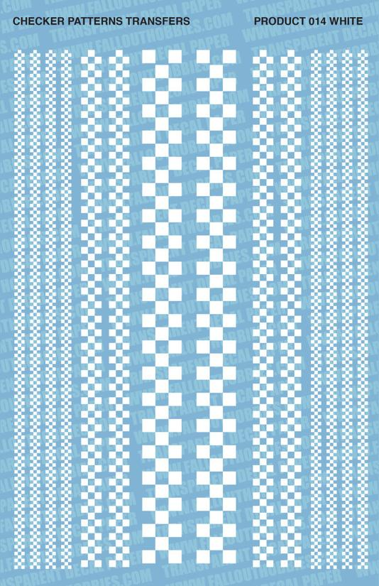 Fallout Hobbies Decals: Checker Patterns B/W (White)
