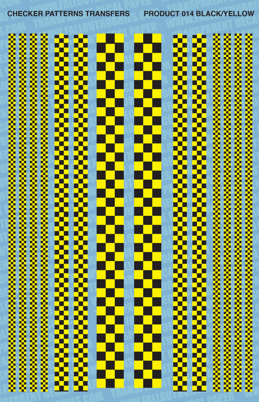 Fallout Hobbies Decals: Checker Patterns Color 1 (Black Yella)