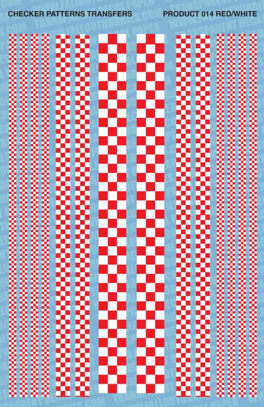 Fallout Hobbies Decals: Checker Patterns Color 1 (Red White)