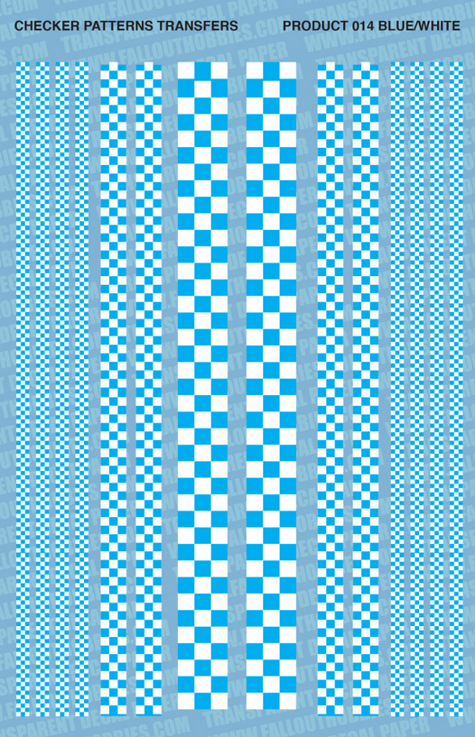 Fallout Hobbies Decals: Checker Patterns Color 2 (Light Blue White)