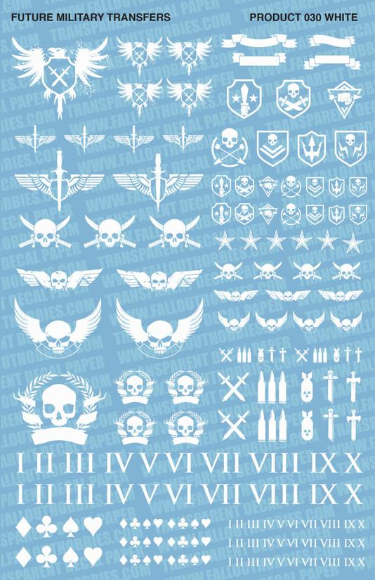 Fallout Hobbies Decals: Future Military (White)