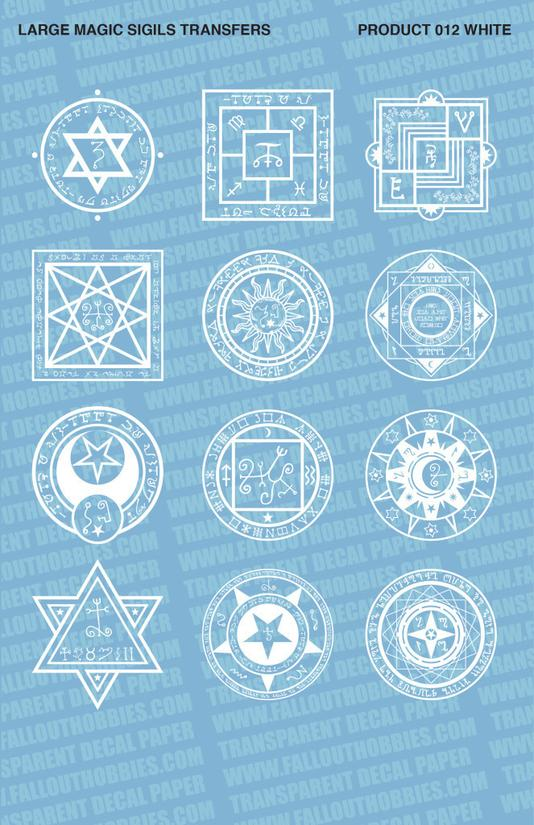 Fallout Hobbies Decals: Large Magic Sigils 2 (White)