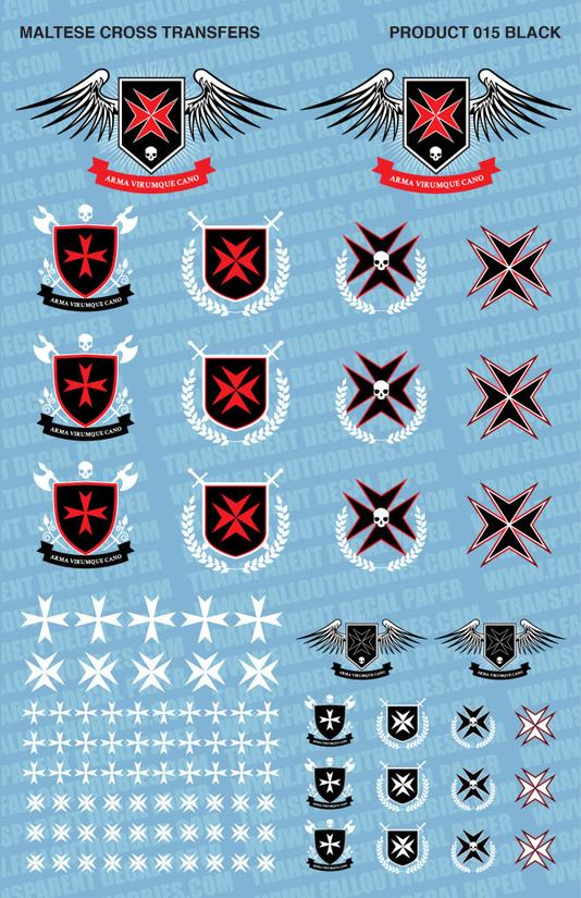 Fallout Hobbies Decals: Maltese Cross (Black Red White)