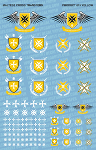Fallout Hobbies Decals: Maltese Cross (White Yellow)