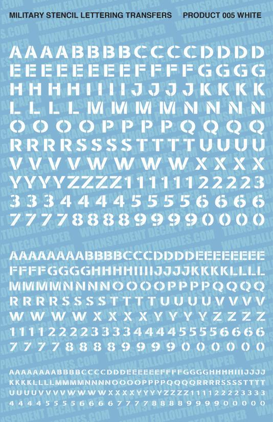 Fallout Hobbies Decals: Military Stencil Lettering 001 (White)