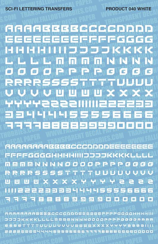 Fallout Hobbies Decals: Sci-Fi Lettering 003 (White)