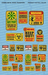 Fallout Hobbies Decals: Zombie Hazard Signs (Colour)