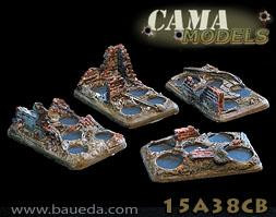 Cama Scenics: 15mm Scenic Bases: Urban Five Holes Infantry