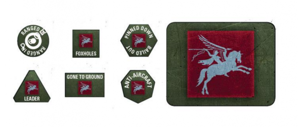 Flames of War: British: 6th Airborne Tokens (x20) & Objectives (x2)