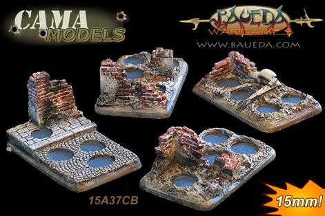 Cama Scenics: 15mm Scenic Bases: Urban Four Holes Infantry