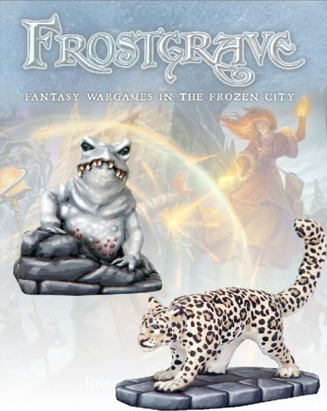 Frostgrave: Ice Toad and Snow Leopard