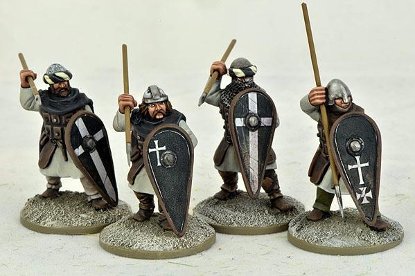 Gripping Beast 28mm Early Crusade: Military Order Infantry Sergeants (Spears) (4)