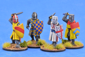Gripping Beast 28mm Later Crusades: Crusading Foot Knights (Great Helms) (Attacking) (4)