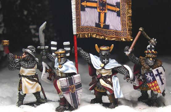 Gripping Beast 28mm Later Crusades: Teutonic Foot Knights (Command) (4)