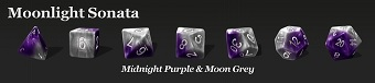 Halfsies Dice: 7 Dice Set- MOONLIGHT SONATA