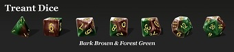Halfsies Dice: 7 Dice Set- TREANT