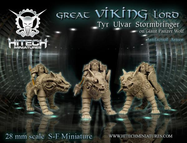 Warhell: Viking- Great Viking Lord Tyr Ulvar Stormbringer on Panzer Wolf